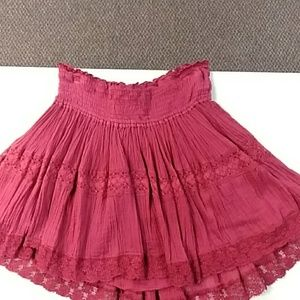 Free People maroon cotton lined skirt S